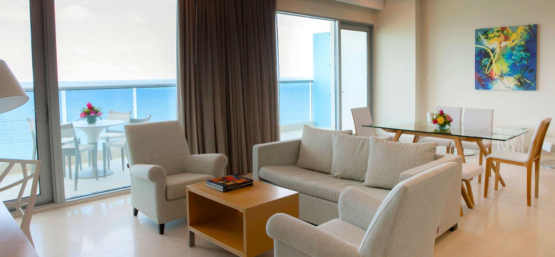 Habitación Suite Presidencial Torre del Mar entre las mejores habitaciones en cartagena.
